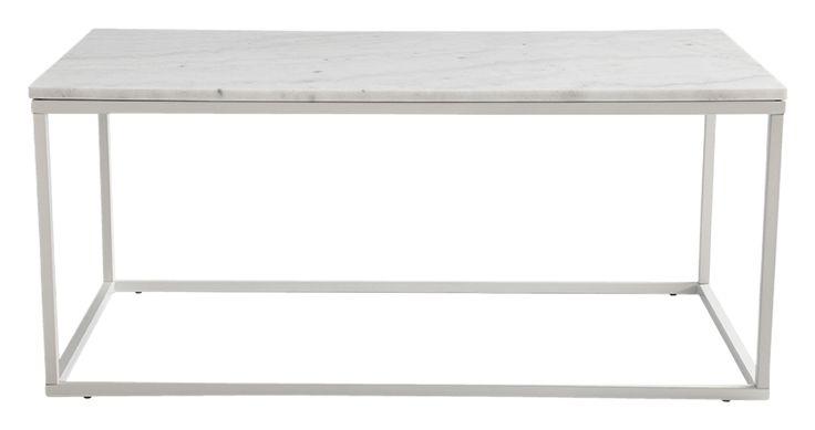 Moderne sofabord i polert marmor og matt lakkert metall. Farge messing. 60x110 høyde 48 cm. Marmor er et porøst materiale så tenk på å tørke av platen med en gang du eventuelt skulle søle noe. Behandle marmoren forsiktig noen ganger pr år så får du et sofabord som holder seg fint. Montér selv. Vekt 52 kg. Les mer under «Frakt og levering».
