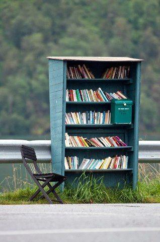 Roadside bookstand in Fjaerland, Norway  --   amanda@writerswrite.co.za