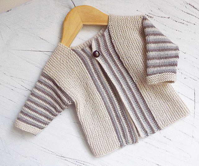 Ravelry: Baby Sideways knit cardigan with stripe pattern P066 pattern by OGE Knitwear Designs