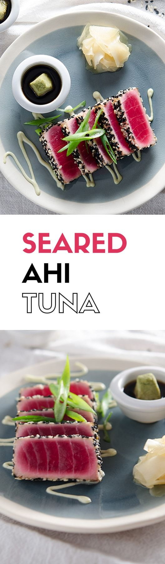 The perfect seared ahi tuna recipe with crunchy sesame crust, a delightfully playful wasabi mayo and a mirin ginger dipping sauce.