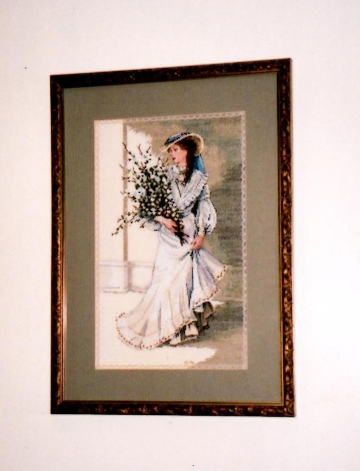 Lady with Flowers.  Counted Cross Stitch.