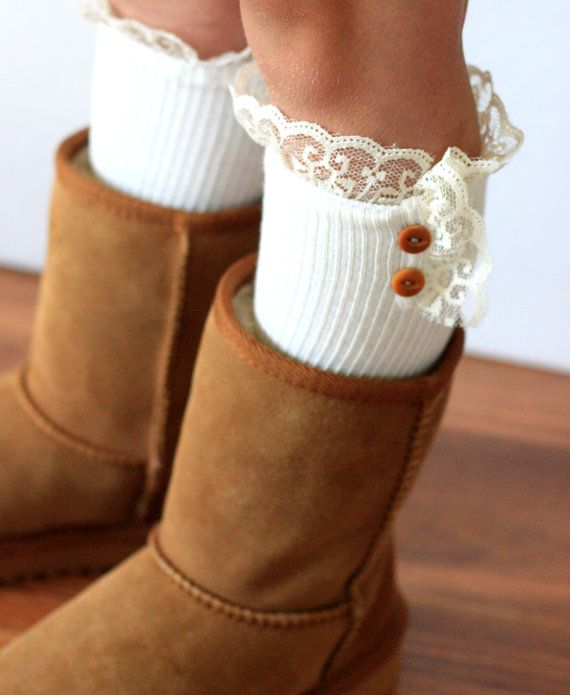 Cute little girl boot socks. I need to make some of these