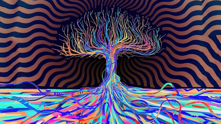 psychedelic colors abstract tree 4k ultra hd wallpaper