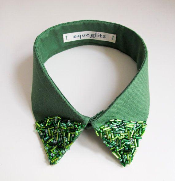 Gatsby inspired emerald beaded collar on Etsy