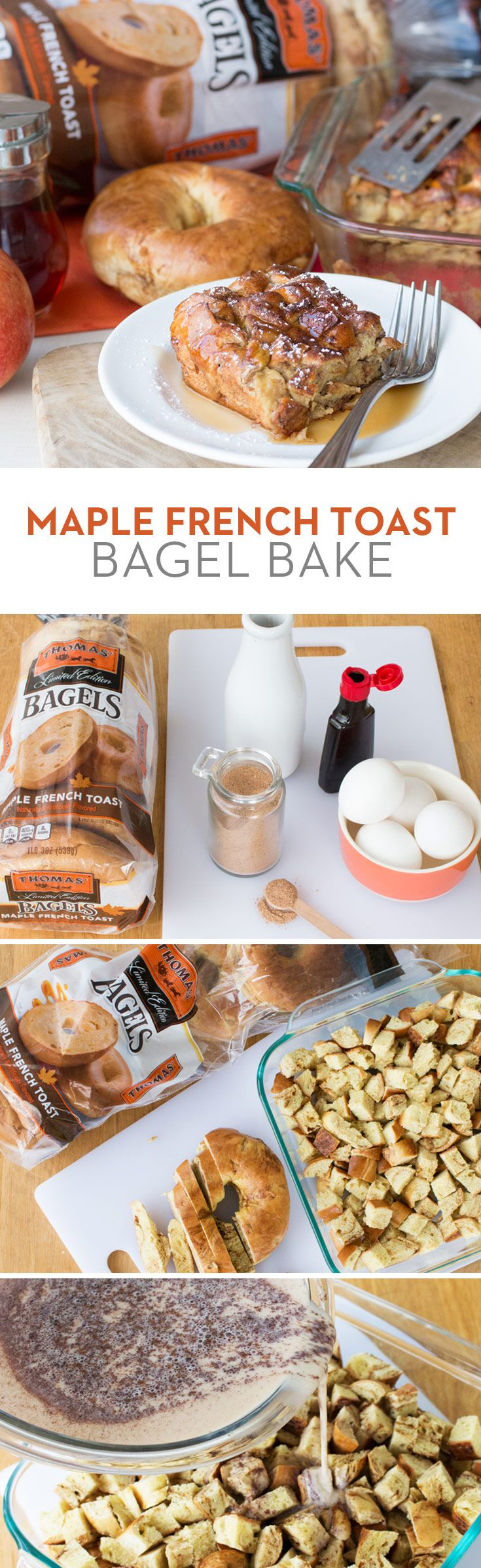 Maple French Toast Bagel Bake: Turn Thomas' Limited Edition Maple French Toast Bagels into...French toast! This easy breakfast dish is perfect for weekend brunch with family or friends. And you may not even need maple syrup on the side!