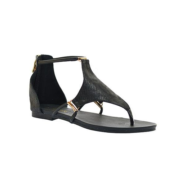 """Alanis"" Ladies Black Toe Thong Sandal with ankle strap by Bronx Woman."