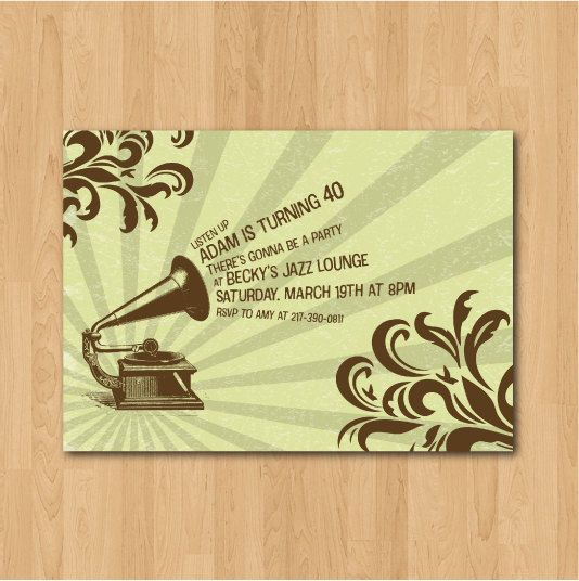 89 best new orleans design ideas images on pinterest posters items similar to printable vintage gramophone jazz birthday party invitation on etsy stopboris Gallery