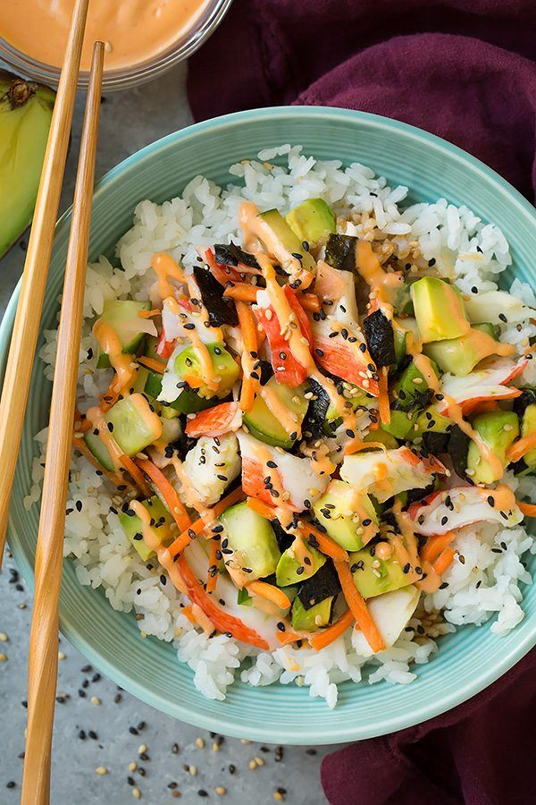 California sushi= 2 cups dry California Calrose Sushi Rice 5 Tbsp rice vinegar , divided 2 Tbsp granulated sugar 1/2 tsp salt 1/4 cup light mayonnaise 1 1/2 Tbsp sriracha 1/4 cup low-sodium soy sauce 10 oz imitation crab or lump crabmeat , torn or chopped into small bite size pieces 1 1/2 cups diced English cucumber 3/4 cup roughly chopped matchstick carrots 1 nori sheet , chopped or crumbled into small pieces (add more if you'd like) 1 1/2 Tbsp chopped pickled sushi ginger 1 large avocado