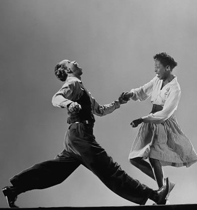 Leon James & Willa Mae Ricker doing the Lindy Hop, 1943, photo by Gjon Mili, via LIFE.