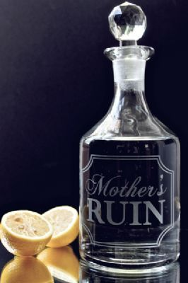 Etched Decanter - Mother s Ruin ... could work year round :)