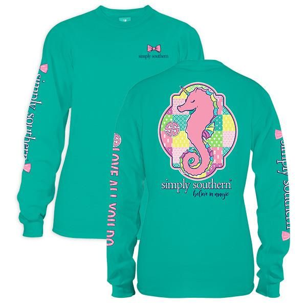 10cace349 Simply Southern Preppy Seahorse Seafoam Long Sleeve T-Shirt | Simply ...