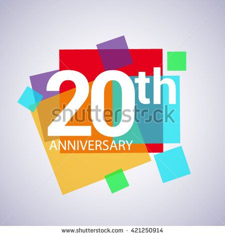 20th anniversary logo, vector design birthday celebration with colorful geometric isolated on white background.
