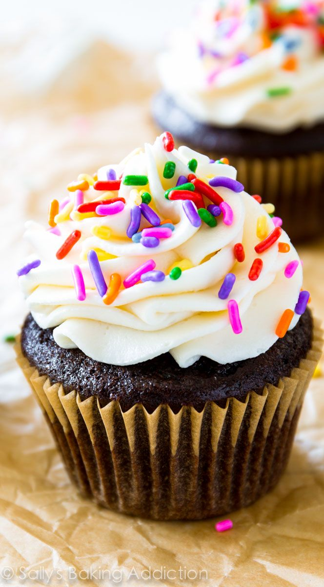 The one and only homemade chocolate cupcake recipe you need! Topped with fluffy, rich vanilla frosting.