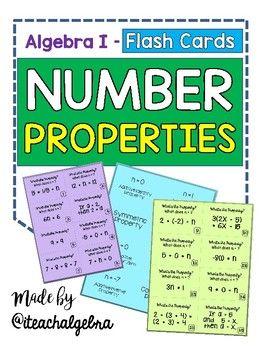 Algebra 1 - The Number Properties - 16 Flash Cards by iteachalgebra