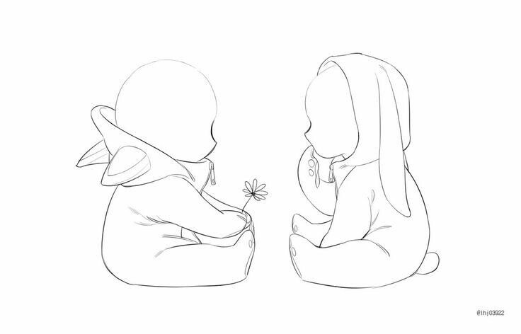Aw That S Cute Baby Chibi Rabbit And Cat Poses Perspective Side Way Baby Drawing Drawings Chibi Drawings