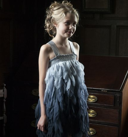 Damselfly - silk chiffon  ombre-dyed feather dress