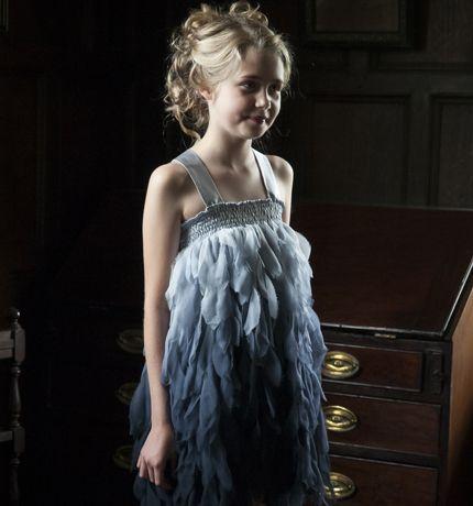Damselfly - silk chiffon  ombre-dyed feather dress