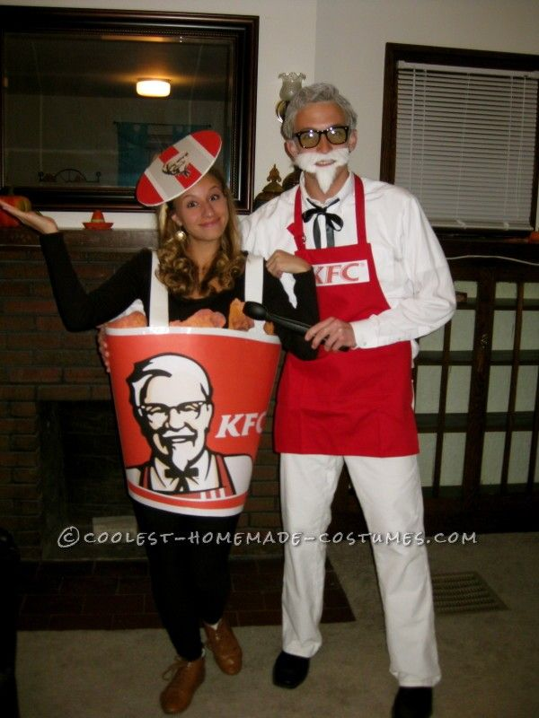 coolest colonel sanders and bucket of fried chicken couples costume - Original Ideas For Halloween