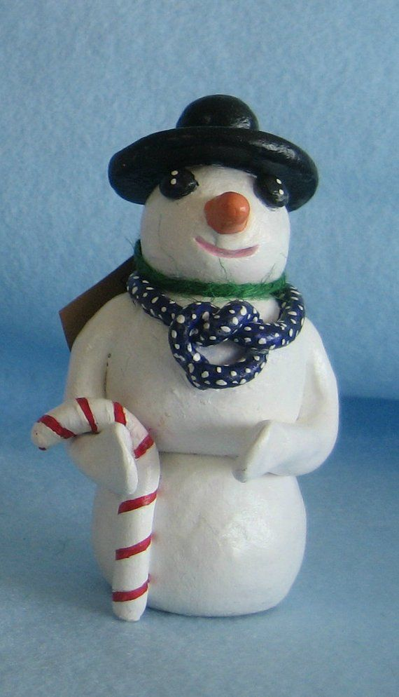 Snowman with candy cane and blue polka scarf, Whimsical Nature Collection, Judy Lamb Studio (S-small size, less than 4 inches tall)