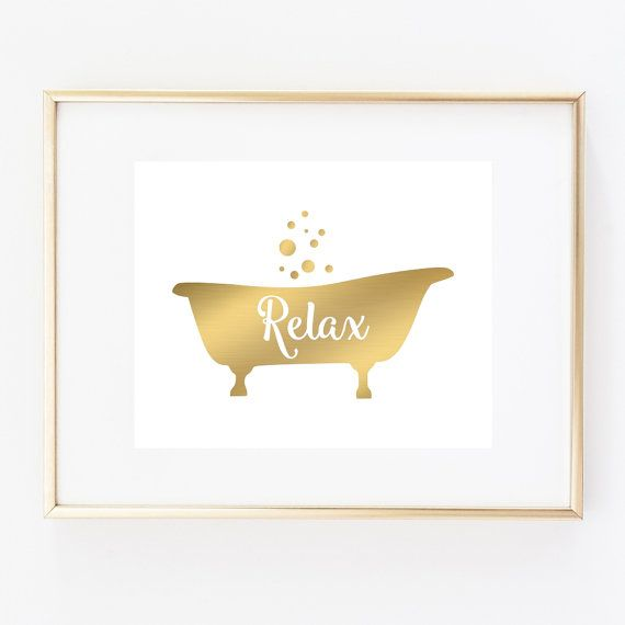 Bathtub Art Print, Bathroom Wall Decor, Relax Art, Faux Gold Bathroom Wall Art, Faux Gold Tub 5×7, 8X10, 11×14 Tub Art Print, Bath Wall Art – Dekoration; Lampen, Bilder; Objekte