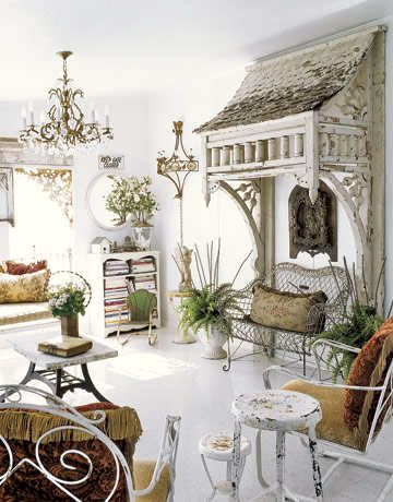 Victorian awning brought indoors and used as a canopy over a settee