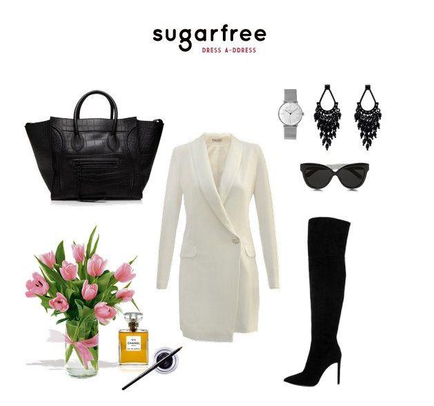 biała sukienka smokingowa sugarfree