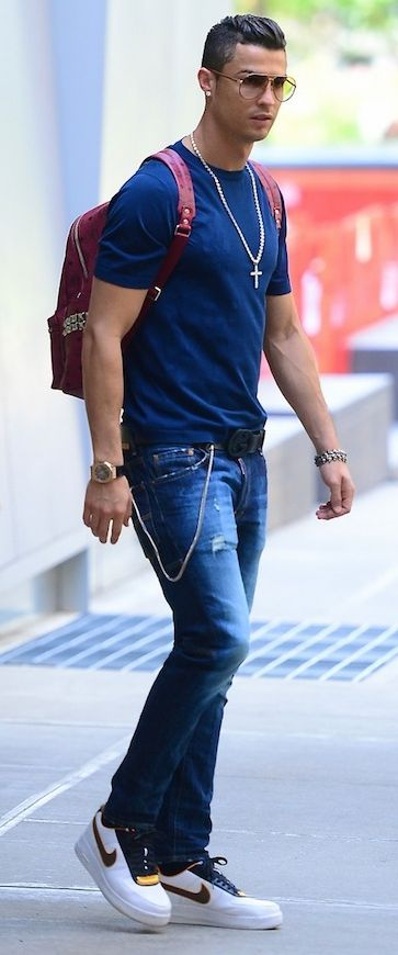 Christiano Ronaldo spotted sporting his custom made MCM CR7 backpack.