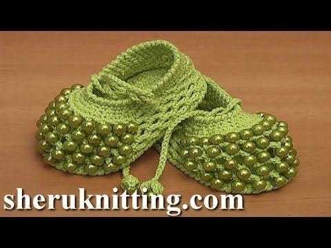 Crochet Button Buckle Bow Shoes Tutorial 37 Part 1 of 2 Zapatitos Para Bebe - YouTube