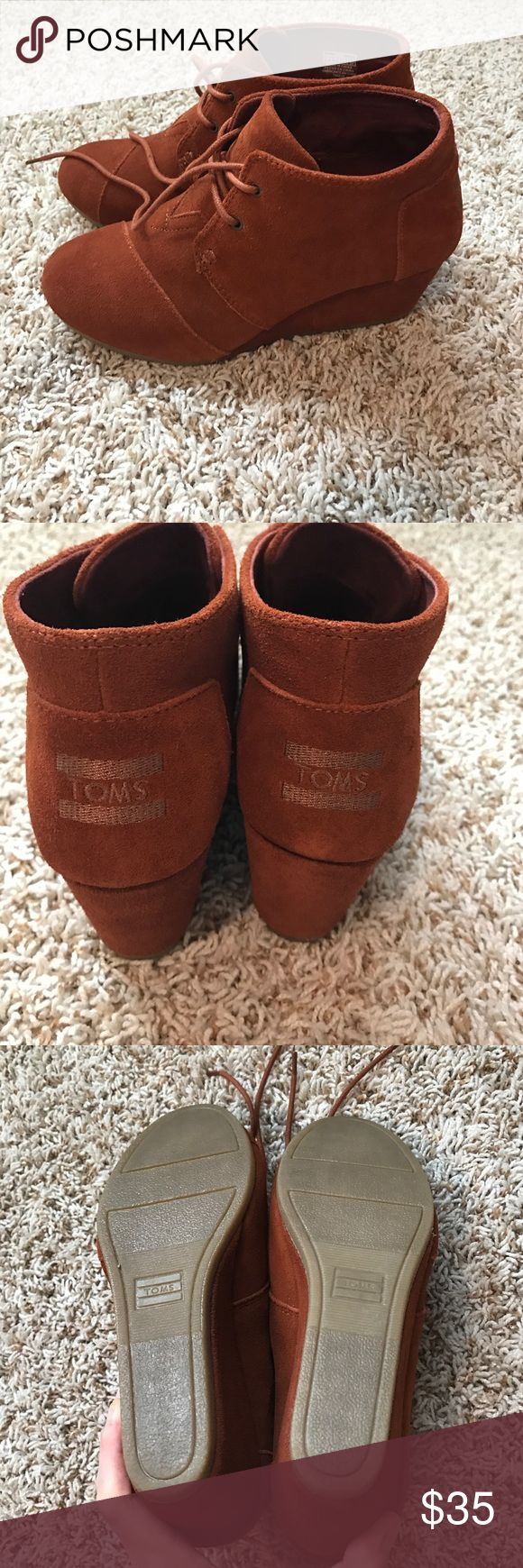Toms Wedge booties Cognac suede. Worn once TOMS Shoes Ankle Boots & Booties