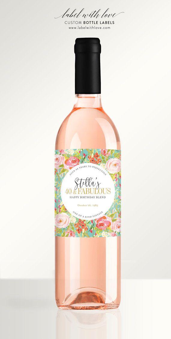 Birthday Wine Labels - Custom 30th or 40th Birthday Celebration Favors - Milestone Birthday Wine Stickers