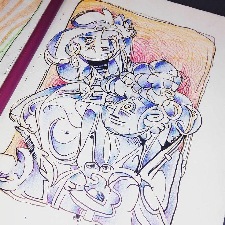 estudio de formas y colores. tinta, lápices de colores