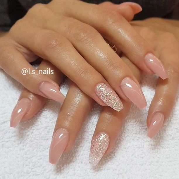 """6,793 Likes, 28 Comments - TheGlitterNail Get inspired! (@theglitternail) on Instagram: """"✨ REPOST - - • - - Soft Peachy Nude and Glitter on Coffin Nails✨ - - • - - Picture and Nail…"""""""