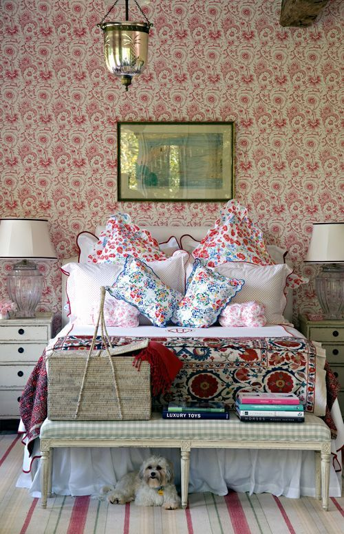 Shabby chic bedroom design with busy patterns