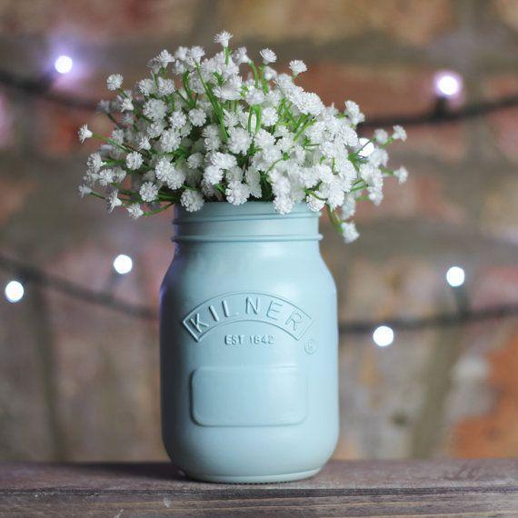 Pale Blue Painted Kilner Mason Jar UK  Wedding by WedlockShopUK