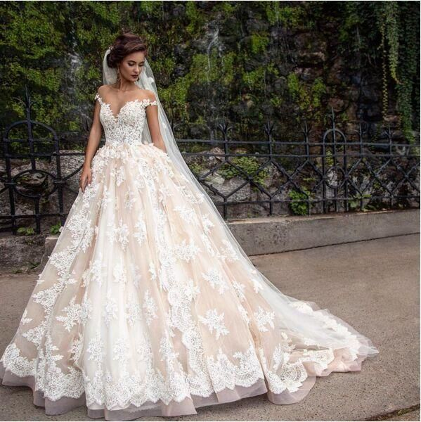 1920'S Vintage Lace Applique Princess Wedding Dresses Custom Make Champagne Dubai Arabic Off Shoulder A Line Wedding Gown Low Cost Wedding Dresses Photos Of Dresses From Gaogao8899, $174.87| Dhgate.Com