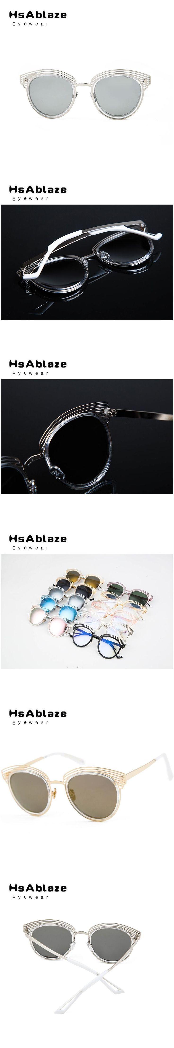 HsAblaze Eyewear Pink Gold Mirror Sunglasses 2017 Women Metal Hollow Out Vintage Brand Designer Women Sunglass Glasses Frame