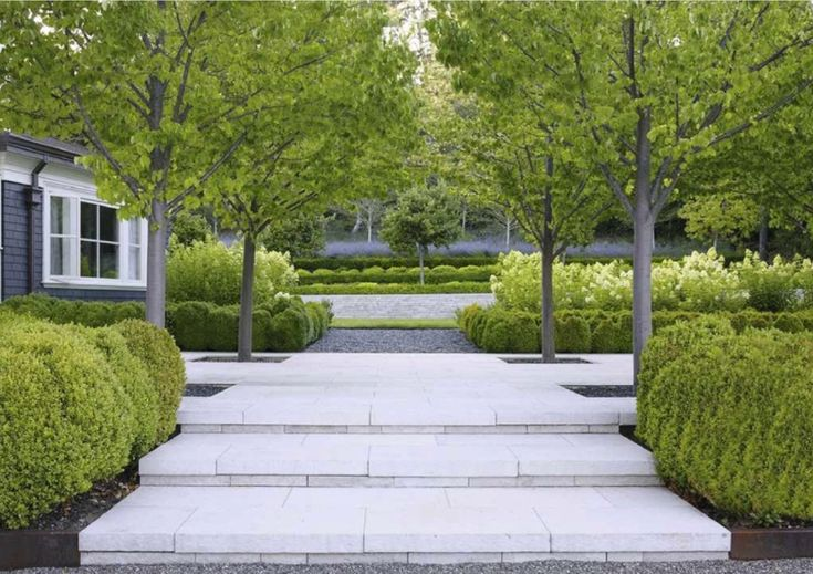 Andrea Cochran - pale Wisconsin pewter limestone steps in a Northern California garden, on the San Francisco Peninsula