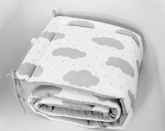 Cot Bumper, Clouds Bumper, Grey Bumper, Grey and White, Half Cot Bumper, Crib bumper