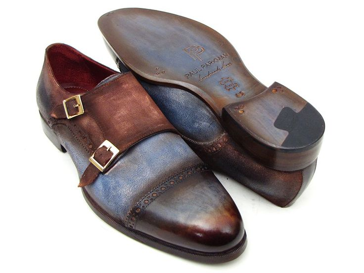 Paul Parkman Captoe Double Monkstrap Antique Blue & Brown Suede (ID#045AN14)
