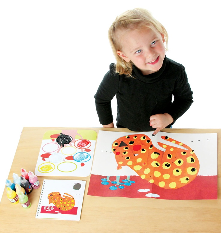 Children love to create, but quickly tire of the aimlessness and tedium of the typical fingerpainting kit. Until they are comfortable with the materials and process, they also love direction. Djeco Finger Paint Kits excel in that. Bright and beautiful, smooth and creamy, Djeco finger paints are completely non-toxic. There are two identical pictures of the four designs, so your children can consult the instruction booklet for one version and then use their imagination for the second print.