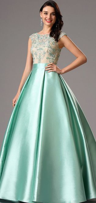 eDressit Green Embroidery Ball Gown