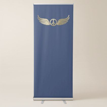 Metal look peace symbol with wings retractable banner - metal style gift ideas unique diy personalize