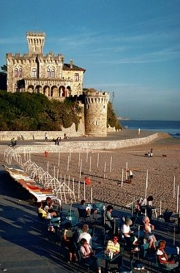 Private Castle Overlooks Beach at Estoril,Portugal