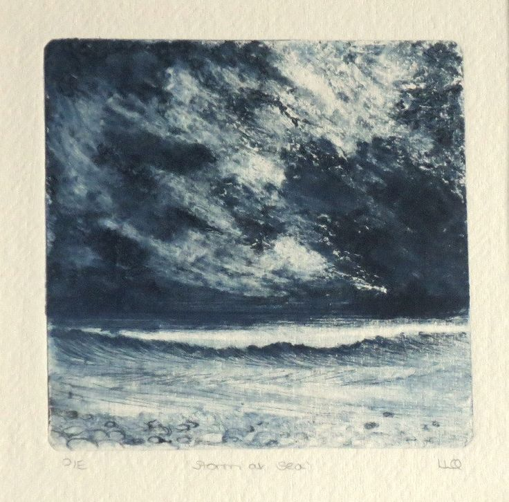 Original collograph print with drypoint elements ocean storm