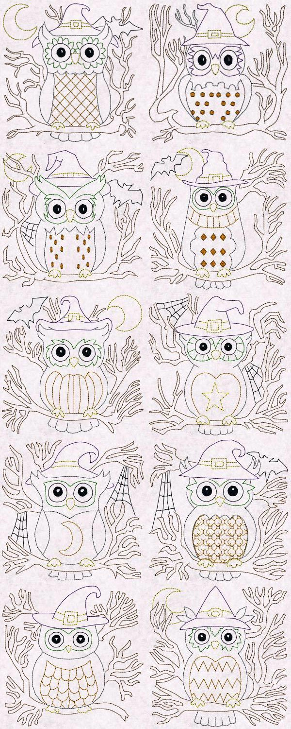 566 best machine embroidery images on pinterest embroidery ideas halloween owls blocks colorline embroidery machine design details bankloansurffo Image collections