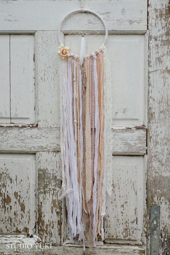 Bohemian Lace Dreamcatcher, White, Peach, Shabby Chic, Wedding Decoration, Nursery Decor, Gift, Pastel, Boho Decor, Sari Silk, Wall Hanging by Studio Yuki