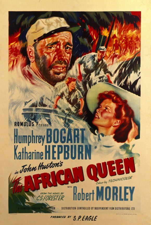 """The African Queen"" (1951) / Director: John Huston / Writers: C.S. Forester (novel), James Agee (adapted for the screen by) / Stars: Humphrey Bogart, Katharine Hepburn, Robert Morley #poster"