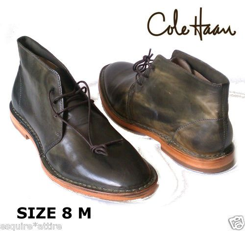 Cole Haan Men Leather Boots size 8 (Dark Green Color) new with box  $229