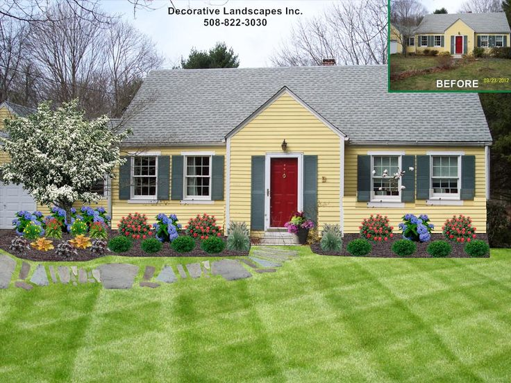 Cottage style front yard landscape Dighton, MA
