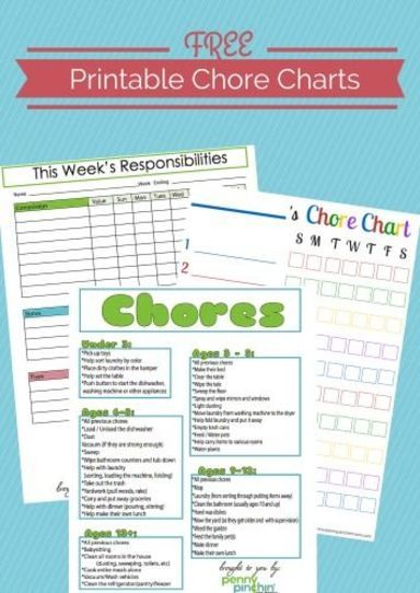 chore charts for kids of all ages